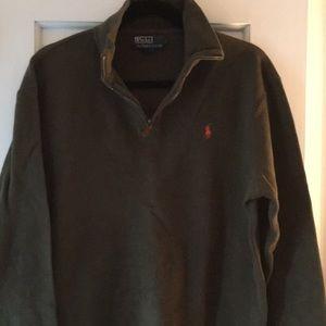 Men's half zip mossy green sweater